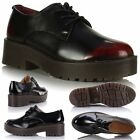 New Ladies Womens Classic Leather Style Lace Up Chunky Cleated Sole Gibson Shoes