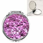 PURPLE STARS SPRINKLES GIRLY HANDBAG POCKET MAKEUP COMPACT MIRROR