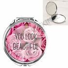 YOU LOOK BEAUTIFUL ROSES GIRLY HANDBAG POCKET MAKEUP COMPACT MIRROR