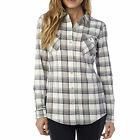 Fox Racing Womens Vintage White Variegate Flannel Long Sleeve Button Up Shirt