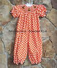 Smocked A Lot Girls Polka Dot Thanksgiving Turkey Bubble Romper Dress Fall