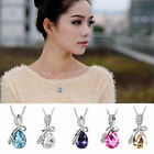 Fashion Women Teardrop Necklace Silver Plated Crystal Chain Pendant Jewelry Gift