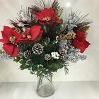 Job Lot Of 12 x Artificial Christmas Flowers *Poinsettias,Berries,Holly etc*