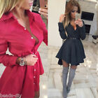 Women Lady Fashion Point Pleated Short Skirt Party Casual Bodycon Shirt Dress