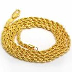 "SALE 9ct 9K  "" Gold Filled "" Girl Ladies 2, 3, 5, 6, 8 mm Rope Necklace N904YG"