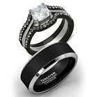 His Tungsten & Hers 4 Pc Black Stainless Steel Wedding Engagement Ring Band Set
