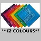12pcs Paisley Bandanas in One Colour Package Wholesale Joblot 100% Cotton