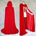 Adult Halloween Costume Witchcraft Cape Gothic Hooded Velvet Cloak Robe Cosplay