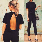 Fashion Women Summer Loose Top Short Sleeve Blouse Casual Tops T-Shirt Black