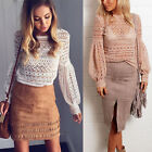 Women's Fashion Casual Sexy Elegant Hollow Lace Puff-Sleeved T-Shirt Top Blouses