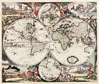 Justus Danckerts 1745 Map of the World Antique Embellished Art Poster Reprint