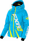 FXR Womens Blue Digi/Hi-Vis Yellow Boost Snowmobile Jacket Shell w/ Liner