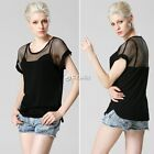 2015 NEW Fashion Women Casual Short Sleeve Mesh Off shoulder T-shirt Tops Blouse