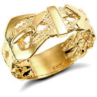 Jewelco London Men's Solid 9ct Yellow Gold Single Buckle Ring