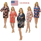 Floral Silk Bridesmaid Robes Gown Bride Wedding Gifts Kimono Bathrobes Sleepwear