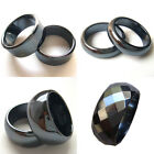 Hot 2PCS 6mm 10mm Wide Hematite Band Rings Size 5 6 7 8 9 10 11 12 13