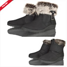 WOMENS LADIES LOW WEDGE HEEL FUR WINTER  SNOW COMFORT ANKLE BOOTS SHOE SIZ