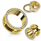 Pair Gold Ion Plated CZ Gem Rim Screw Fit Ear Plugs Tunnels Gauges Earrings