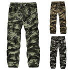 Combat Men's Casual Vintage Camo Army Cargo Pants Baggy Cotton Overall Trousers