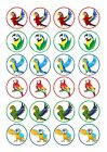 24 Cake topper decorations icing wafer Parotts Parrots Parrotts Bird of paradise
