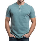 NWT LEE Premium Select Texture Stripe Henley Short Sleeve Shirt Vintage Wash $42