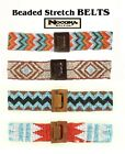 Ladies SOUTHWEST Style BEADED-STRETCH BELT Nocona Brown, Blue, Corral White 16