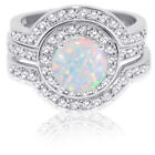 Large Halo Round White Fire Opal Silver Wedding Engagement Three Ring Set