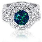 Large Halo Round Dark Blue Fire Opal Silver Wedding Engagement Three Ring Set