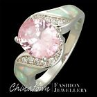 SZ 5-12 LAB WHITE FIRE OPAL 8X10MM SIMULATED PINK SAPPHIRE SILVER SF BYPASS RING