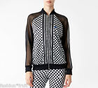 ADIDAS Originals Women Houndstooth Chiffon Soccer Track Top Jacket Black White