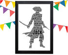PERSONALISED Pirate Word Art Wall Print Gift Idea Birthday Jack Sparrow For Him