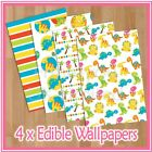 WPS07 colourful dinosaurs themed 4 x A4 sheets edible wallpaper
