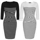 Fashion Women Casual O-neck 3/4 Sleeve Patchwork Striped Bodycon Dress N98B