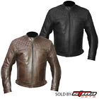 Mens Leather Vintage Retro Motorbike Motorcycle Armoured Protection Jacket