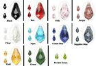 6 Faceted Glass Crystal Teardrop Beads * Red Blue Black Clear Green Pink & More