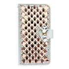 Luxury 3D Bling Diamond PU Leather Flip Wallet Credit Card Cover Case for iPhone