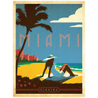 Miami Beach Florida Tropical Wall Decal US Travel Vintage Style