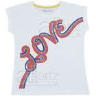 Girls Top UK Store White Cotton Retro T-Shirt Short SleeveTunic Top Sequins M S