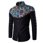 Stylish Men Casual T Shirts Printed Long Sleeve Slim Fit Cotton Dress Shirt Tops