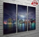 New York Manhattan Skyline 3 Panel Canvas Print Large Picture Wall Art No.67
