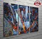 New York Streets Aerial View 3 Panel Canvas Print Large Picture Wall Art No.34