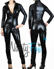 Sexy Black Gothic Metallic Black Bodysuit Catsuit Zip Up Halloween Costume S