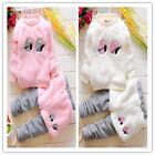 Toddler Kids Clothes Velvet Warm Winter Coat+Pant Outwear Outfits Baby Cotton