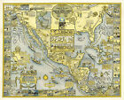 1928 Pictorial Map Panama Mail Steam Ship Routes Vintage Wall Art Poster Decor
