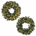 Luxury Pre-Lit Artificial Pine Wreath Christmas Decoration Warm White LEDs