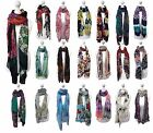 Pia Rossini - Womens Thin Floral Designer Long Lightweight Viscose Scarf Scarves