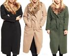 WOMENS LADIES CAPE TRENCH JACKET FUR COLLAR BELTED WATERFALL DRAPED LONG COAT