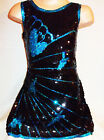 GIRLS 60s STYLE BLACK SEQUIN BLUE BUTTERFLY EVENING DISCO DANCE PARTY DRESS