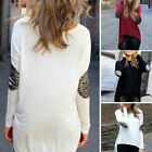 Casual Women Irregular Long Sleeve Round Neck Sequin T-Shirt Lady Blouse Top AU