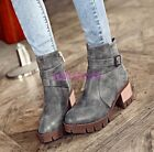 2016 Womens Ladies PU Leather Round teo Block Kitten Heel Ankle Boots shoes Size